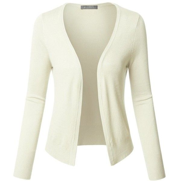 LE3NO Womens Long Sleeve Open Front Soft Ribbed Knit Cardigan ($20) ❤ liked on Polyvore featuring tops, cardigans, white top, rib knit cardigan, ribbed knit top, sleeve top and stretch top