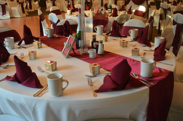 White Banquet Chair Covers, Burgundy Satin Chair Sashes ...