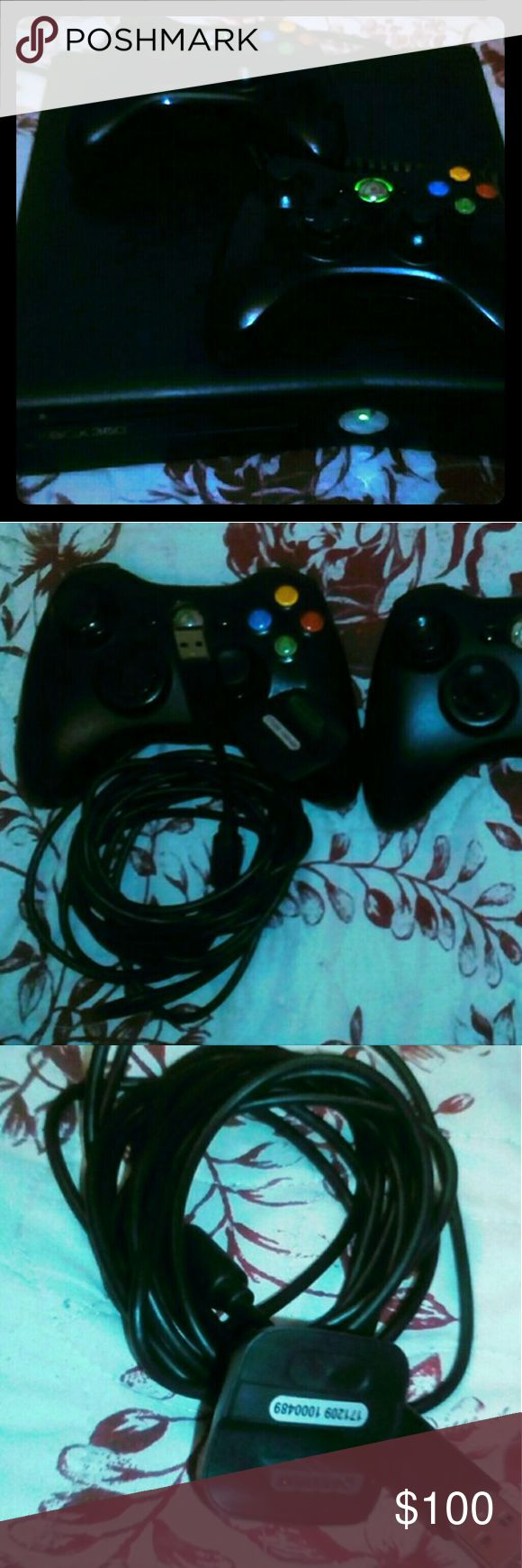 Xbox 360 console Console in good condition with two controllers, all cables, two Ni-MH battery pack batteries with charger, a microphone, and nine Xbox 360 video games. xbox 360 Other