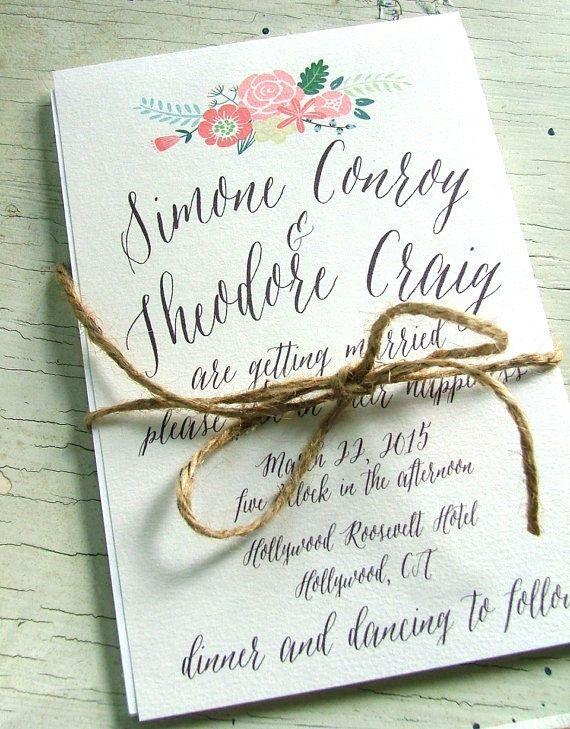 Floral Wedding Invitation Modern Flower Invitations