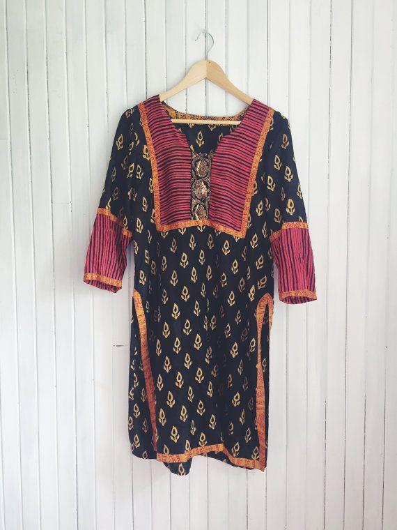 Vintage Silk Indian Tunic Dress by MoonInLeoShop on Etsy  #bohemian #boho #tunic #layering #hippie #freespirit #festivalstyle