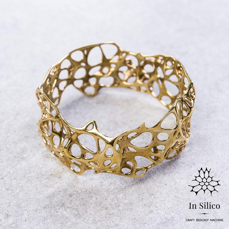 'Phenotype' bracelet. Bone structure inspiration, 3d printing, polished brass. More info on our site: insilico.pl #minimal #3dprint #jewelry #generativedesign #design #bracelet