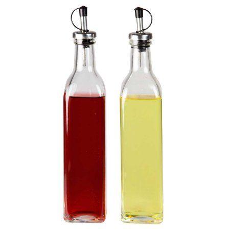 Home Basics Classic Design Glass Oil And Vinegar Dispenser Bottles
