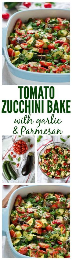Tomato Eggplant Zucchini Bake with Eggplant Garlic and Parmesan. A gorgeous and easy way to use up extra summer veggies! #glutenfree #zucchini