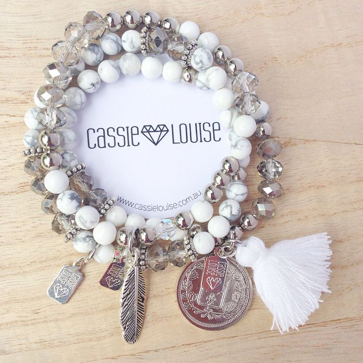 The White Luxe tassel and coin bracelet has been created using semiprecious white and grey marbled howlite beads, faceted glass and metal beads with a feature coin and tassel charm.Wear it on its own or layer it up with more Cassie Louise PARADISE bracelets and add a Cassie Louise necklace to complete your outfit.The perfect addition to the 'Paradise basic bracelet set'.Length: XS - elasticised band will fit 15-17cm wristAll Cassie Louise pieces are handmade ...