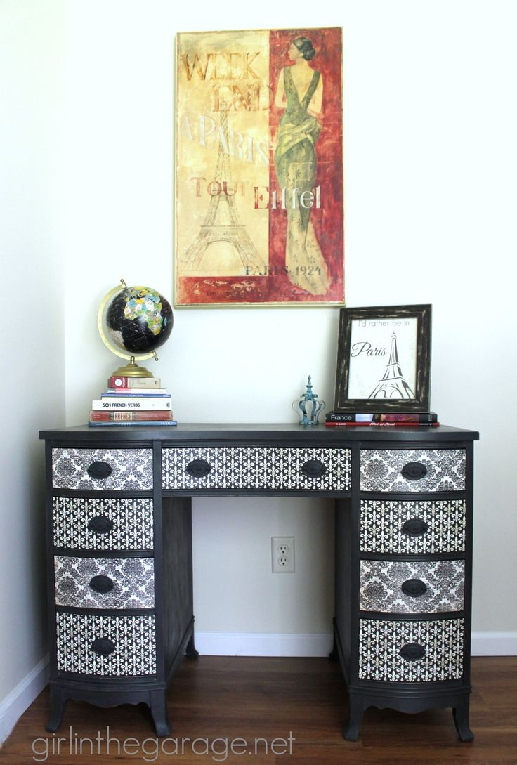 French Decoupage Desk {Themed Furniture Makeover Day}
