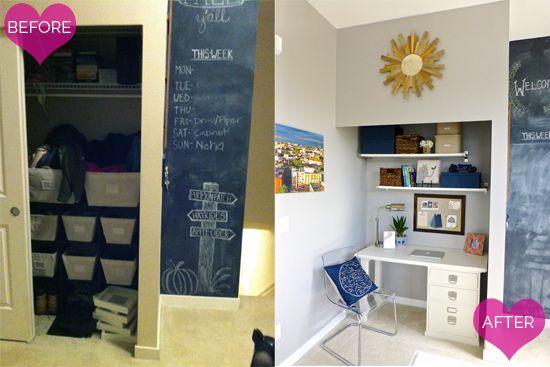13Reader Space:  A Neatly Organized Office Nook Da sgabuzzino a piccolo ufficio...