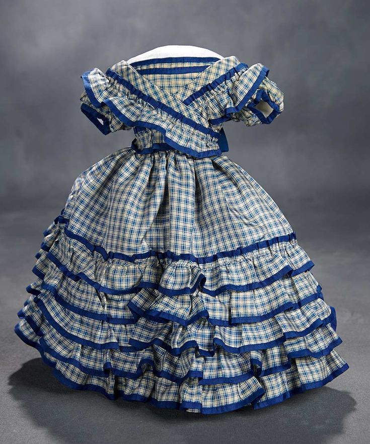 """""""What Finespun Threads"""" - Antique Doll Costumes, 1840-1925 - March 12, 2017: 34 Blue Silk Gown with Five-Tier Ruffled Skirt"""