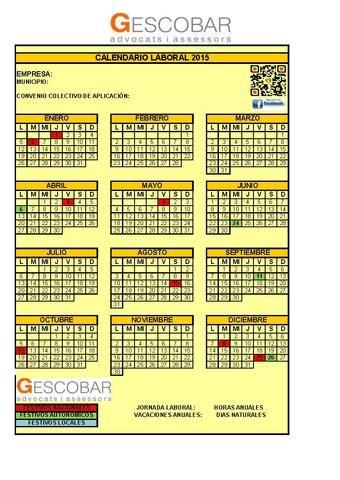 Calendario laboral 2015 Cataluña Relación de fiestas de ámbito Nacional y Autonómico para el año 2015