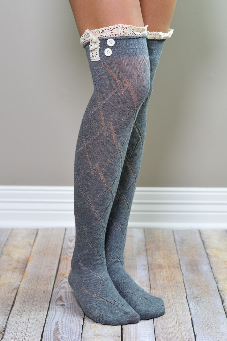 Grey Knee High Boot Socks with Lace Trim