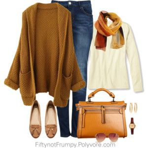 "Great winter outfit.  Need a brown ""swing"" coat/sweater like this."