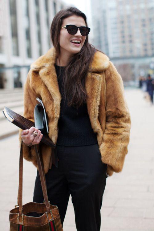 fur camel coat & black