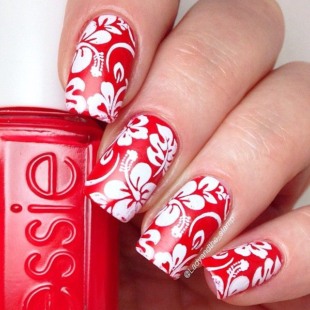 white stamp, which is from @moyou_london Tropical 04 with @mundodeunas White. The juicy red is @essiepolish Too Too Hot. Don't forget to tag your pics with #hawaiianshirtmani if you want to join in. I'll be doing these a
