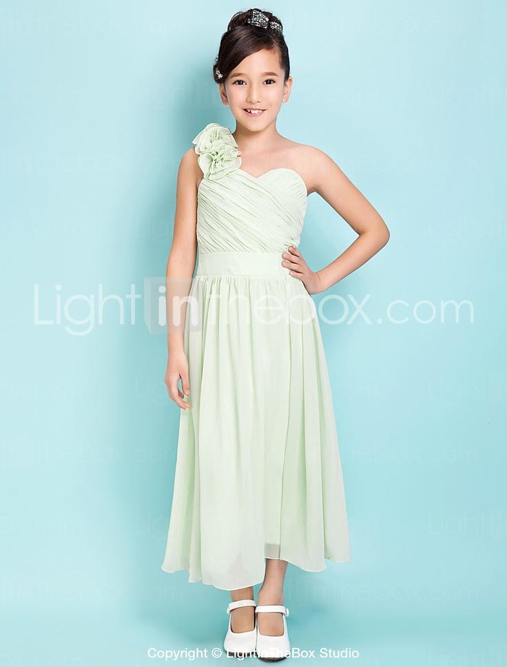 A-line One Shoulder Tea-length Satin Chiffon Junior Bridesmaid Dress - USD $ 119.99