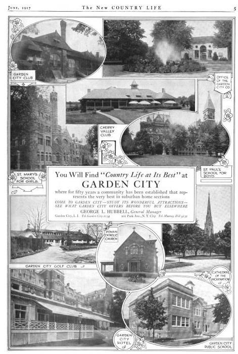A Garden City Ny Advertisement In A 1917 Issue Of Country Life In America Pictures Include