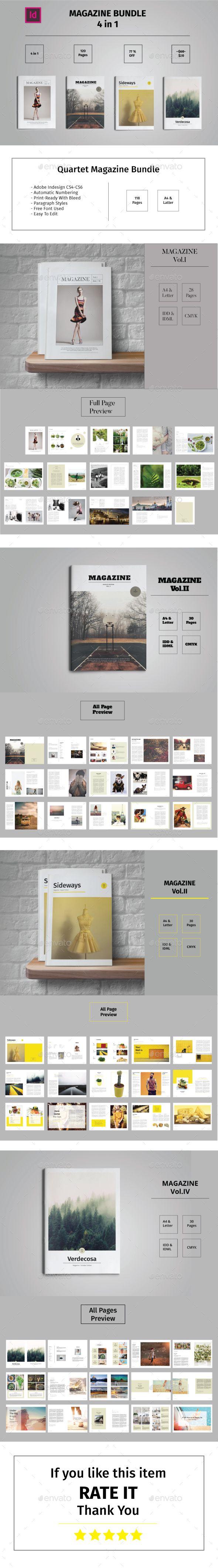 Quartet Magazine Bundle by Tiempo_Co Quartet Magazine Bundle This is Quartet Magazine bundle template 118 pages total, Clean, elegant, modern and professional corporat