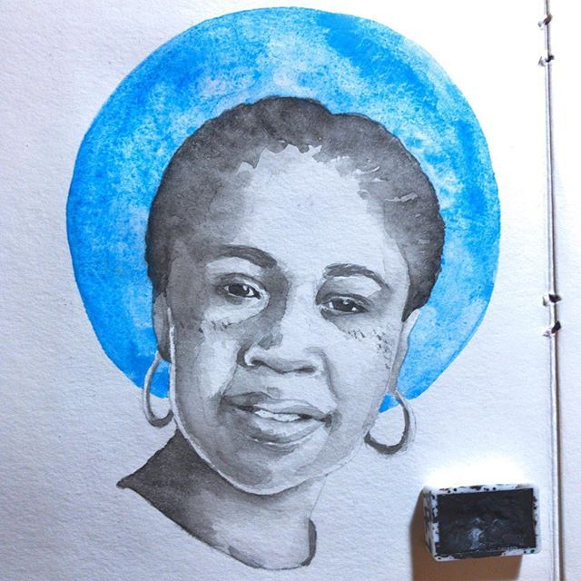 #JamaicaKincaid is an #Antiguan writer who was born #ElainePotter. Her writing touches on topics ranging from colonialism  and slavery to the relationship between a mother and daughter. ( felt pretty sick today but I'm happy I got this out!) #blackhistory #blackhistorymonth #femaleauthor #westindianhistorymonth #watercolor #watercolorportrait #blackandwhite