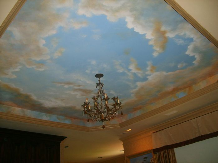 Mural ceiling tray ceiling this is a great idea for a for Ceiling mural sky
