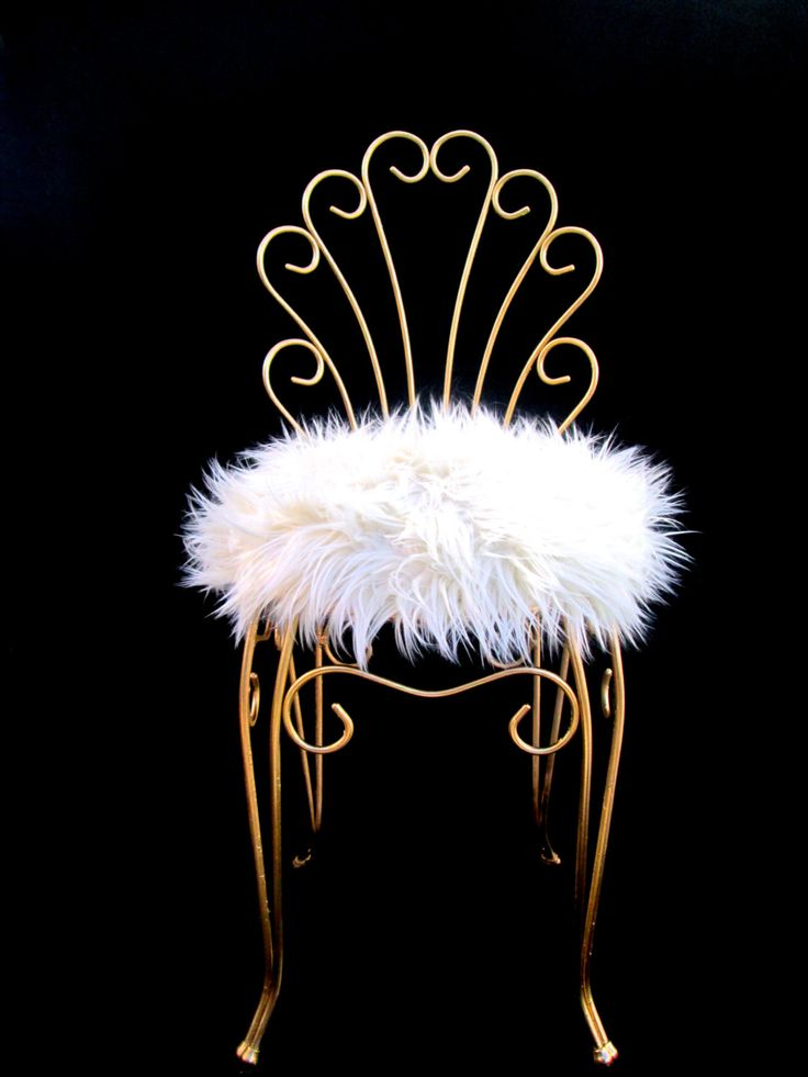 Vintage Hollywood Regency Gold Metal & Faux Fur Vanity Stool by ElectricMarigold on Etsy