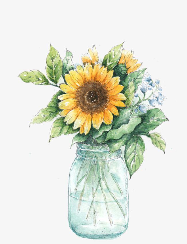 Vase Of Sunflowers In 2020 Sunflower Drawing Sunflower