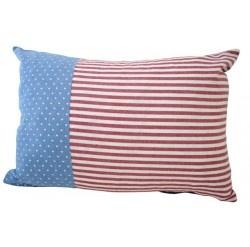 Gorgeous Alimrose Finn cushion with blue white polka and red stripe print (35x50xm)