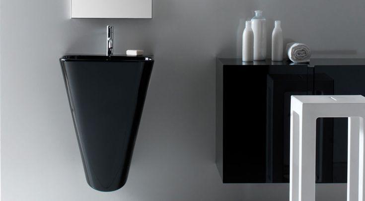 Meg 11 - Washbasin black --- Lavabo sospeso colore nero, collezione Meg11