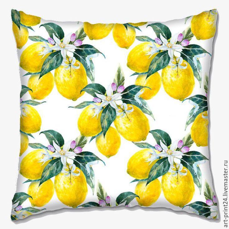 """Купить Подушка декоративная """"Лимончики"""" - комбинированный, Подушки, подушки декоративные, подушки диванные, подушка с принтом"""