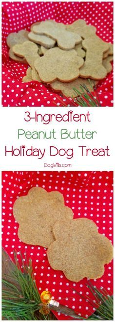 While you're baking the Christmas cookies this year, don't forget to whip up a special holiday dog treat for Fido! These super simple treats have just three ingredients! #dogtreatrecipe