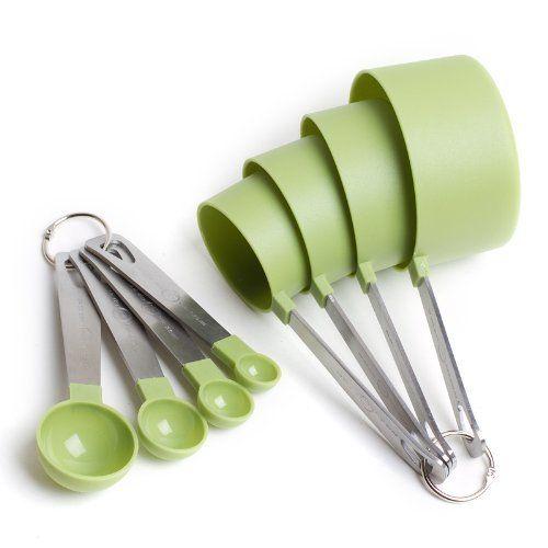 Cooku0027s Corner 8 Piece Green Measuring Tools   4 Measuring Cups / 4 Measuring  Spoons
