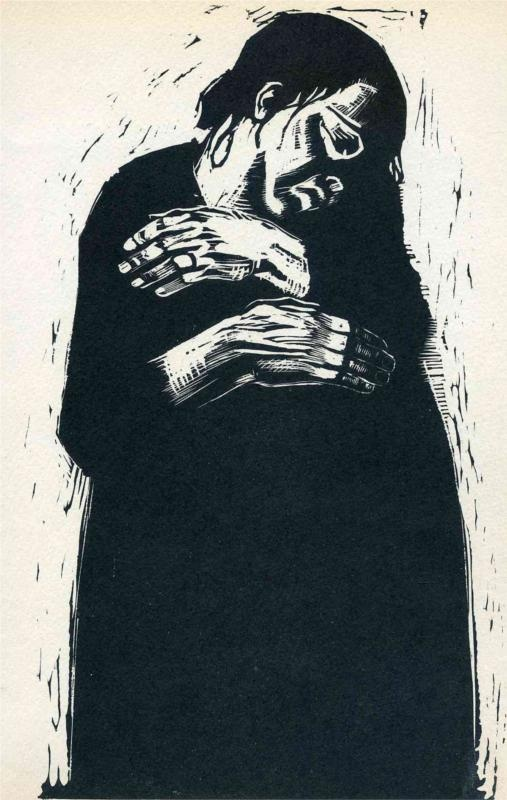 "The Widow - Kathe Kollwitz... ""In 1919, Käthe Kollwitz began work on Krieg (War), her response to the tragedies endured during what she called those ""unspeakably difficult years"" of World War I and its aftermath. The portfolio's seven woodcuts focus on the sorrows of those left behind—mothers, widows, and children."""
