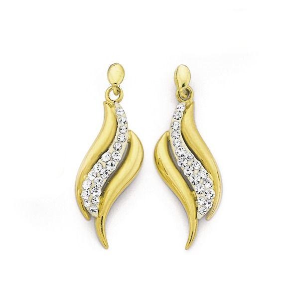 9ct Gold Crystal Swirl Drop Earrings