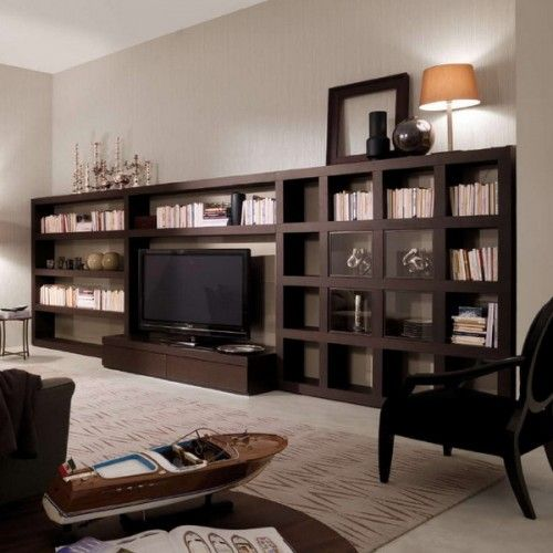 50 Ideas To Organize A Home Library In A Living Room ...or downstairs family tv room