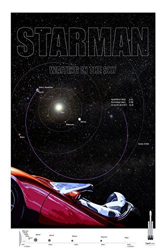 "SpaceX Falcon Heavy Rocket Launch Tesla Roadster & Starman ORBITAL PATH - Commemorative Poster 2/3 - Giclee Print - Premium Paper 200 Year Archival inks - Wall Art 24"" x 36"" Ready-to-frame - ATTN: SPACE FANS! SPECIAL EDITION POSTER #2 in the SPACEX SERIES OF 3. COLLECT ALL 3! Celebrate the interstellar journey of Starman and the Red Tesla Roadster! Space X launched the Falcon Heavy Rocket on Pad 39A at the Kennedy Space Center in Florida on February 6th, 2018. This tribute poster ser..."