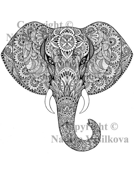 """Printable Coloring Page JPG – Adult Colouring Page, Instant Download only, Art Printable illustrations – """"Magic Totem"""" – Elephant"""