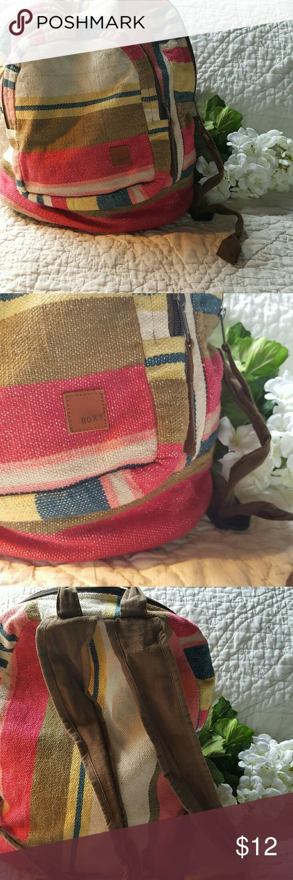 Roxy Backpack This striped backpack is in gently loved condition. Liner is intact, and zippers all work great. Small hole on bottom pictured. Roxy Bags Backpacks
