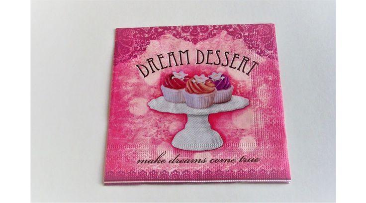 Dream dessert rózsaszín, süteményes szalvéta - KreatívHobbyDekor webáruház