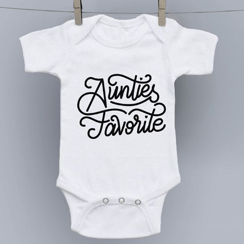 Auntie's Favorite Hand Drawn Slogan Onesie - 100% combed ringspun cotton 1x1 baby rib - flatlock seams - double-needle ribbed binding on neck, shoulders, sleeves and leg openings - reinforced three-sn
