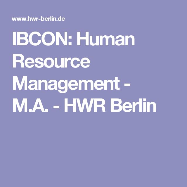 IBCON: Human Resource Management - M.A. - HWR Berlin
