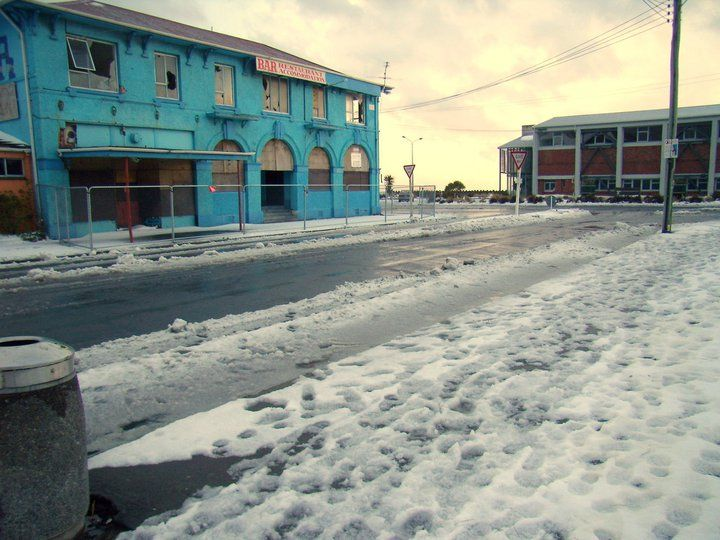 Ozone & War Memorial Hall, after the earthquakes, flodds and now snow Aug 15, 2011. New Brighton, Christchurch, New Zealand.