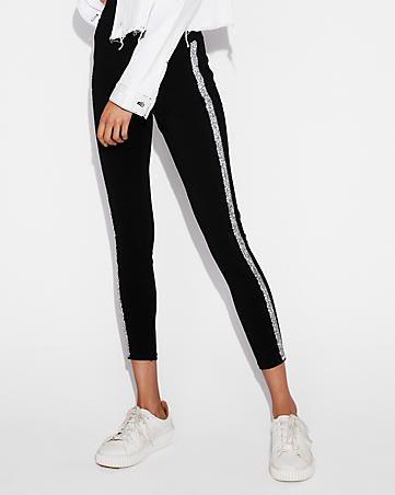 411ec6dcc5529 Your favorite high-waisted black stretch legging gone glam, thanks to  sparkly embellished side stripes.