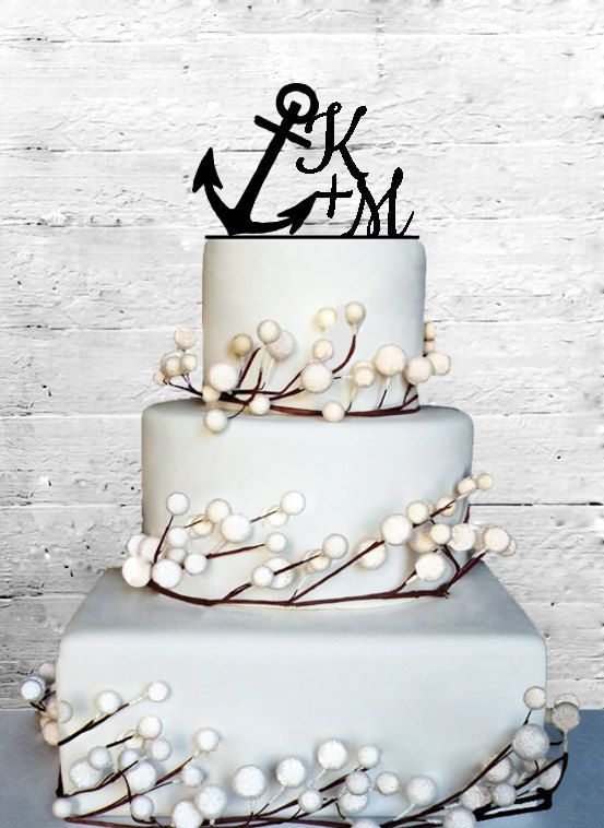 Personalized Anchor Wedding Initials Cake Topper Monogram Cake Topper Personalized Cake Topper