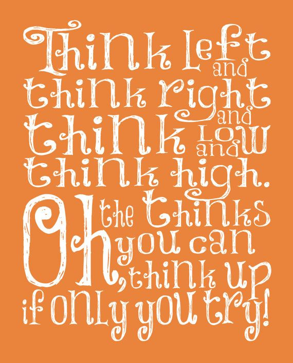 Dr Seuss Quotes Oh The Thinks You Can Think: Dr Suess Nursery Quote Art