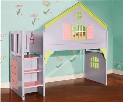 Doll House Loft Bed with Stairs http://www.ekidsrooms.com/Doll_House_Loft_Bed_with_Stairs_p/dwf0300.htm