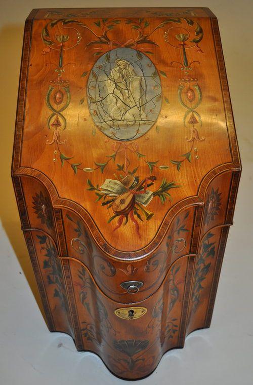 Georgian Painted Satin Wood Knife  Box