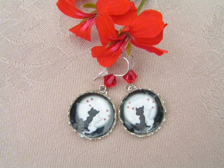 Love under the moonlight  --    Beautiful small cat earrings to the previously made ring and necklace.  I completed the earrings with sparkling red swarovski crystals.   Diameter of the pendants: 20 mm Length of the earrings: 35 mm