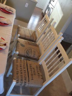 Heather's Creations: Dining chairs upholstered with burlap coffee sacks