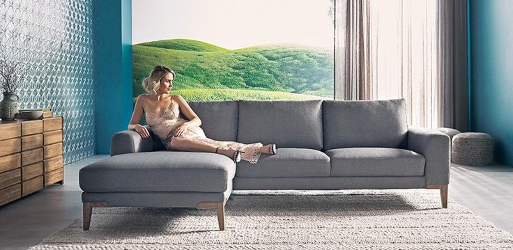 Nick Scali - Stylish fabric chaise lounge, with matching 3 seater. Available in Grey, as shown.