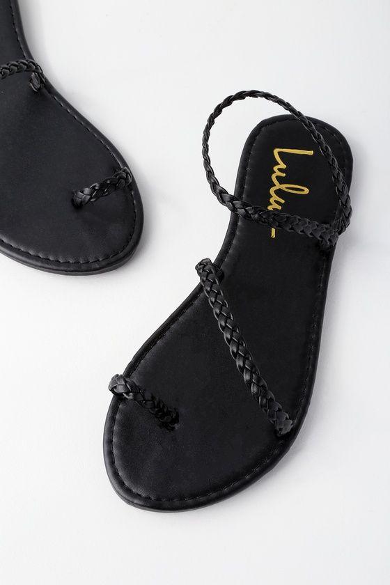 Mirela Black Flat Sandals