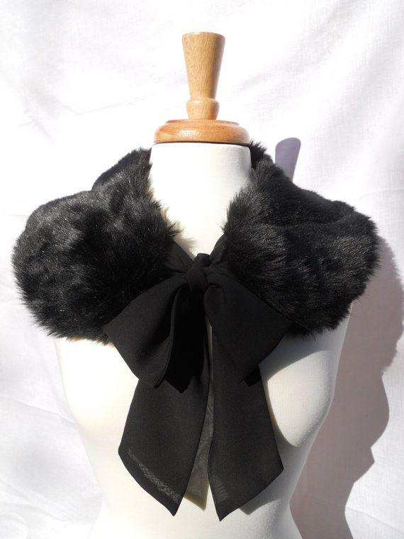 Black Mink FAUX Fur Collar with Chiffon Ribbon Tie
