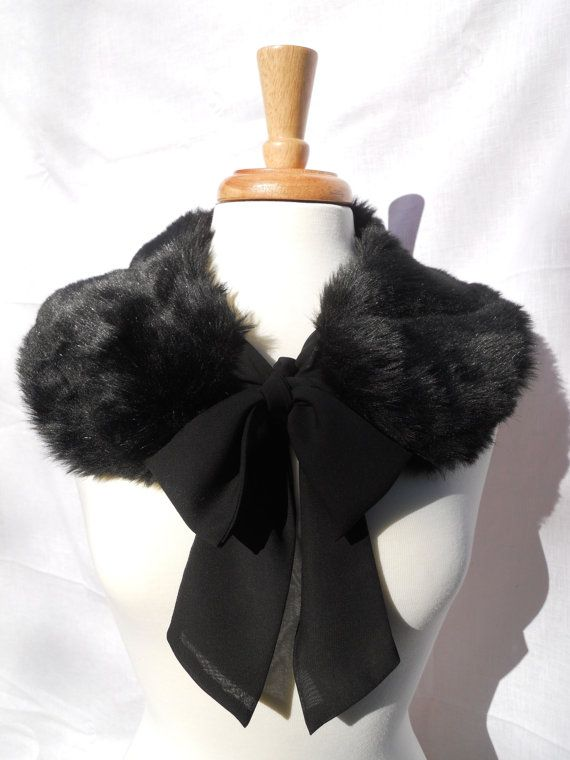 Black Mink FAUX Fur Collar with Chiffon Ribbon Tie